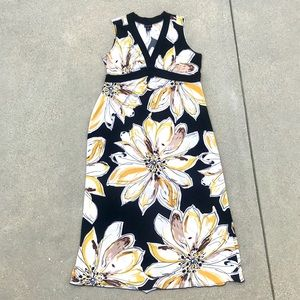 EN FOCUS FLORAL MAXI DRESS black 18W white yellow